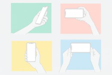 4张手持iPhone X手机矢量模型素材(含AI和PSD)