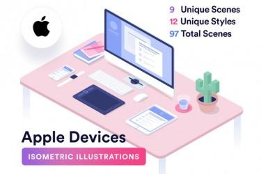 12种不同风格的苹果产品等距插图