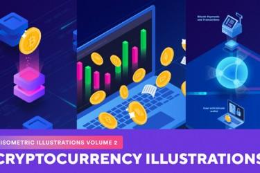 2.5d科技主题(加密货币)等距插图素材(2)