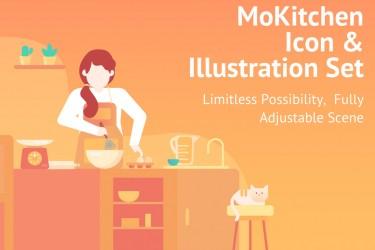 厨房+美食+人物ui图标插画素材