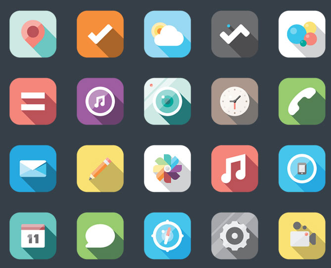 组iOS扁平化图标不同设计风格展示图片