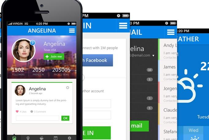 清新简约手机App模板 PSD