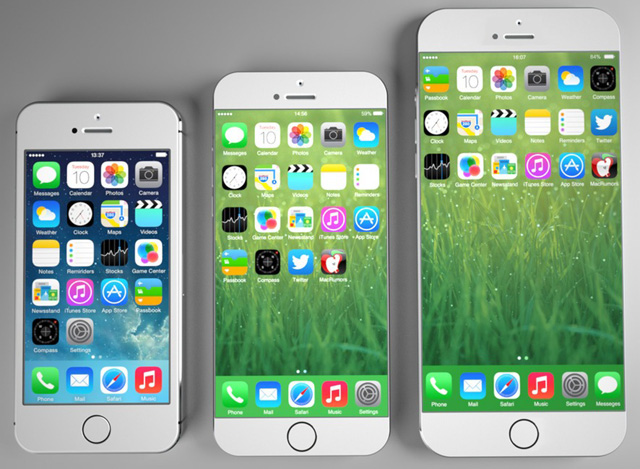 iphone4s,iphone5s和iphone6屏幕尺寸对比图