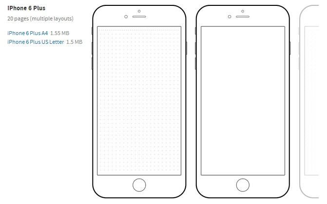 iPhone 6 plus手工草图模板PDF