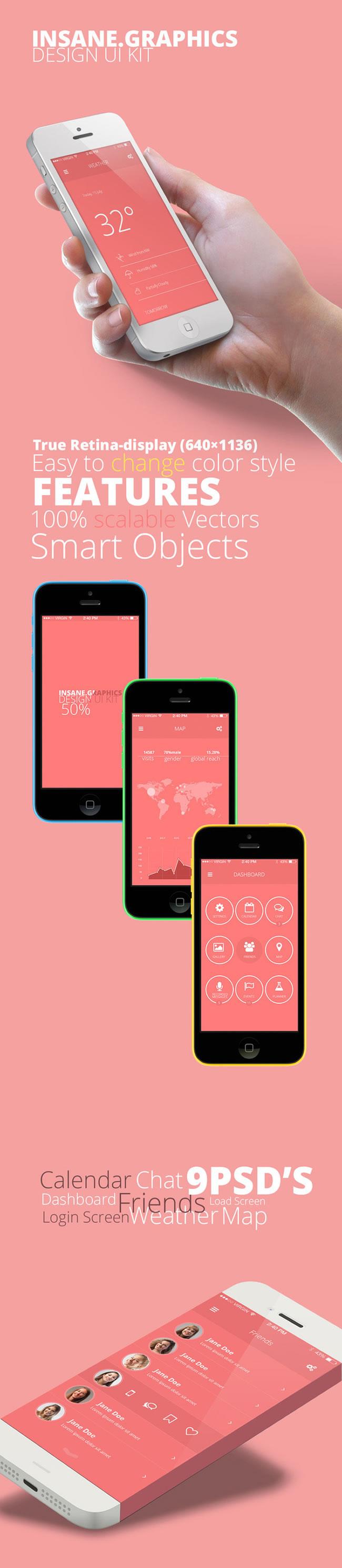 iphone界面模板 PSD素材