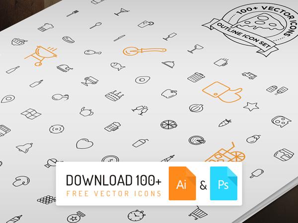 100个披萨风格的图标