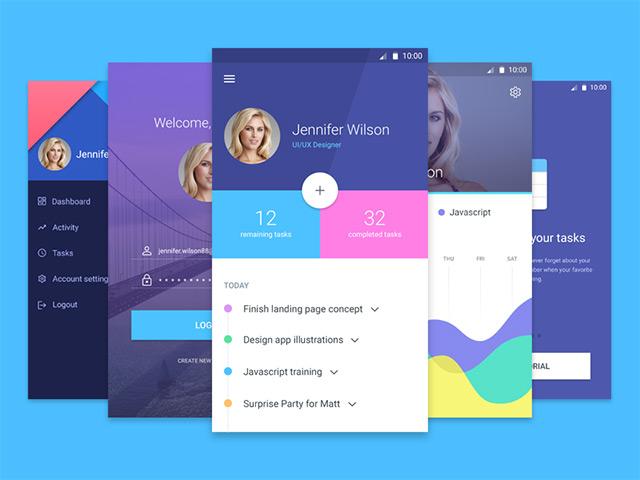 material-screens-psd-app