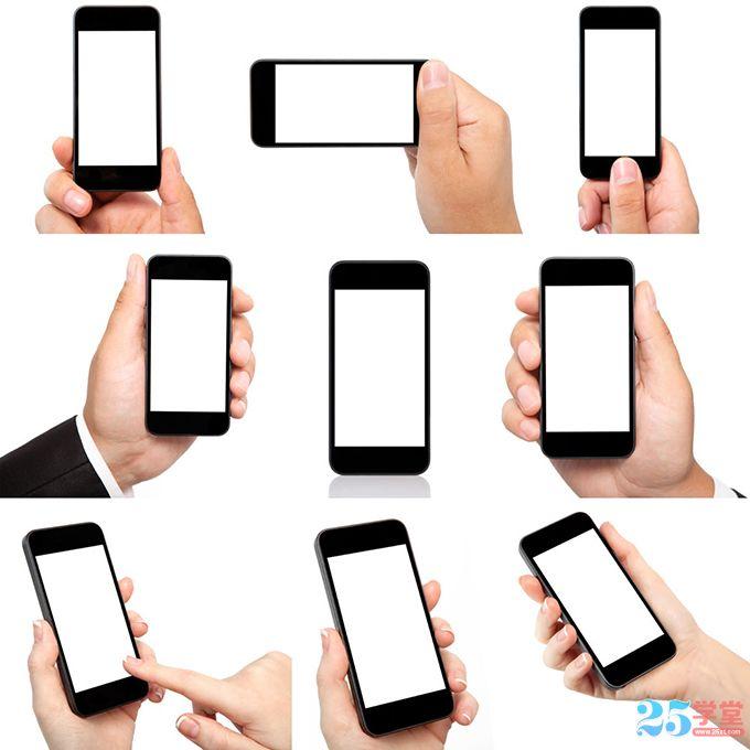 手拿智能手机的各种场景素材3