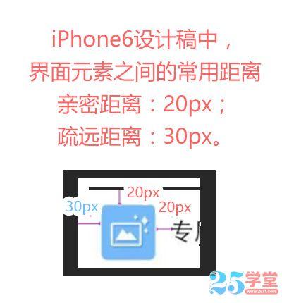 iphone6 界面元素之间的距离