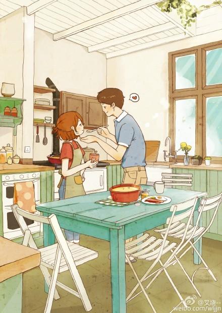 情侣厨房做饭的插画场景