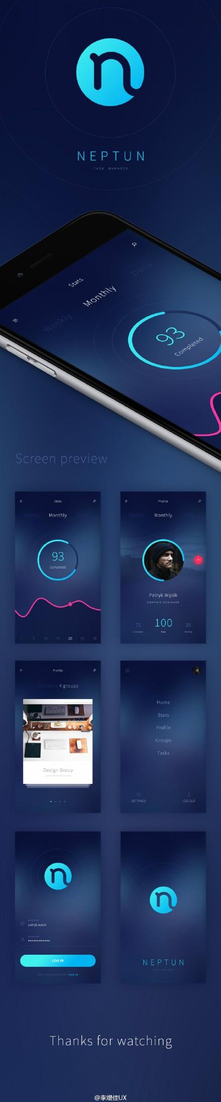 Neptun Free PSD App设计模板PSD
