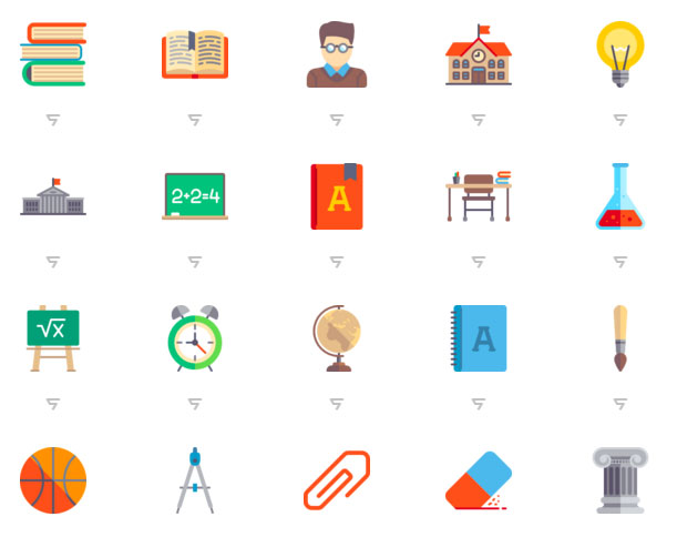 Education flat icon design material