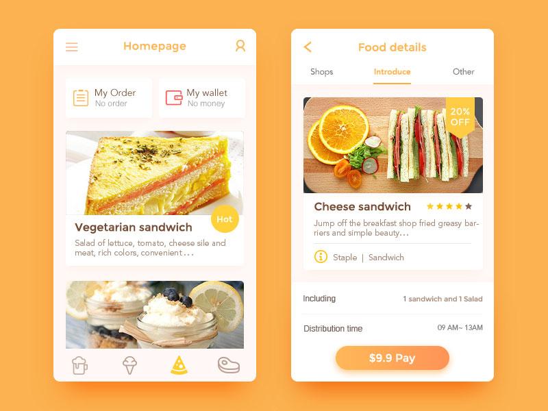 新晋APP设计师的UI界面作品欣赏_美食UI界面