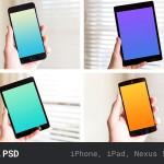 手持ipad、iphone、android等手机模型PSD素材下载