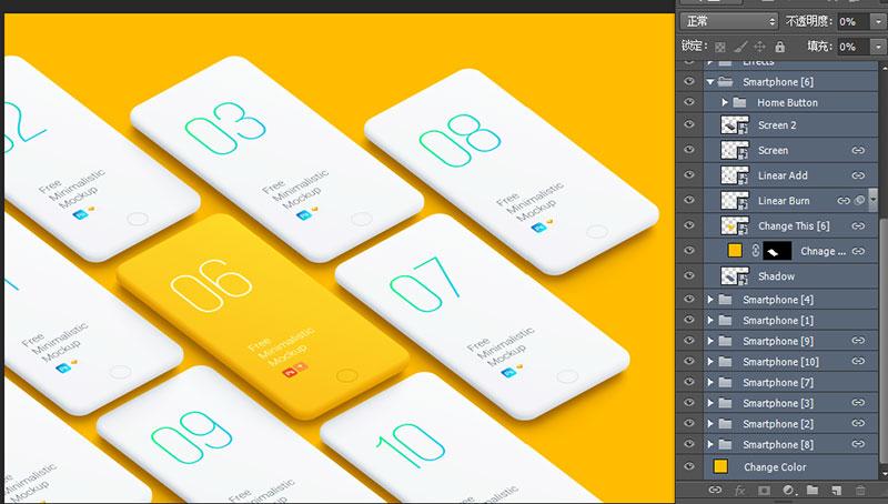 10款APP平铺展示模板素材-橙色版