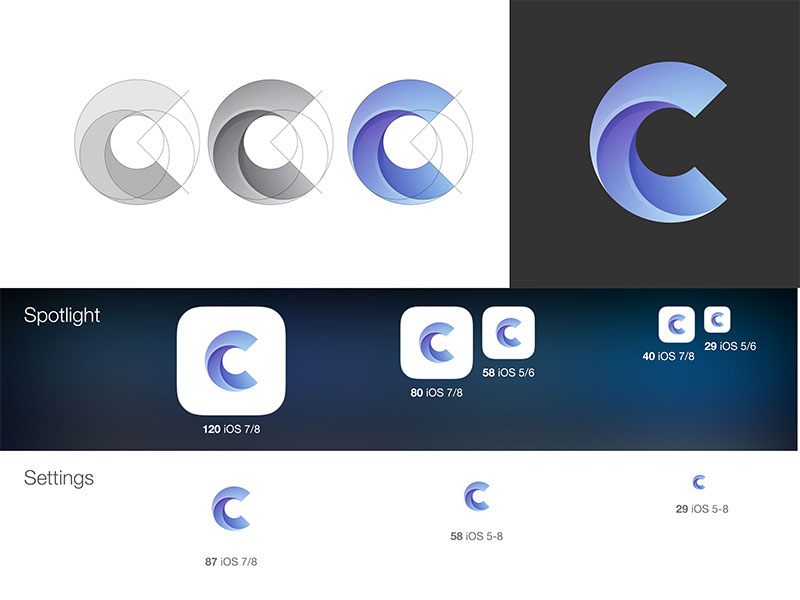 The logo design of the letter C