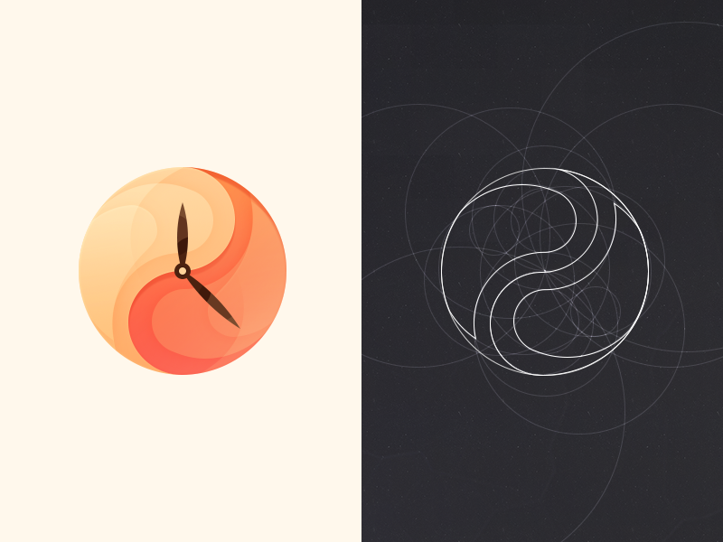 Clock icon logo design