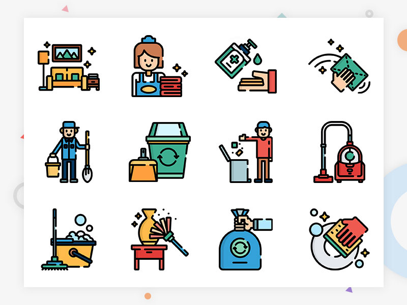 Cleaning class APP illustrations icon material