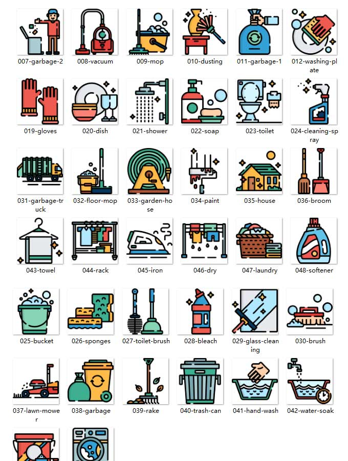 50 cleaning class APP illustrations icon material