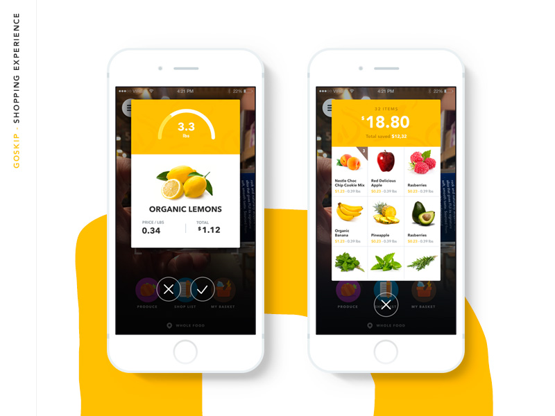 Design of fruit and food app