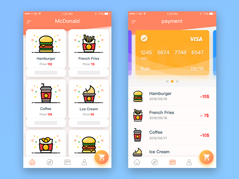 APP interface design of McDonald's series