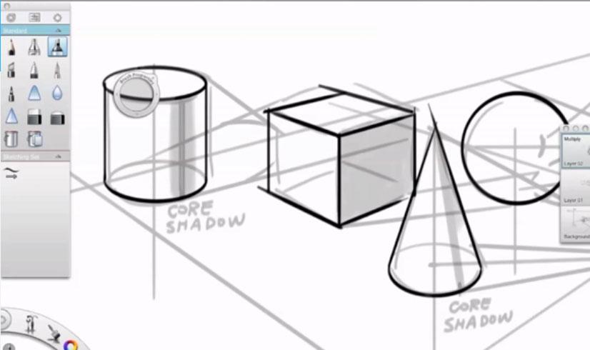 Sketch-book的透视、投影、光影的绘画视频教程