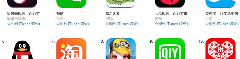 App-store排行榜前10-免费app