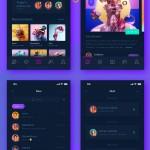 深紫色系的iphone X设计尺寸的APP界面设计欣赏