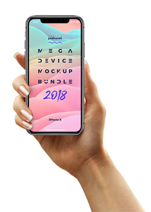 手持iPhoneX_SamsungS8_iPhone8_Single_Classic_Hand_FrontView