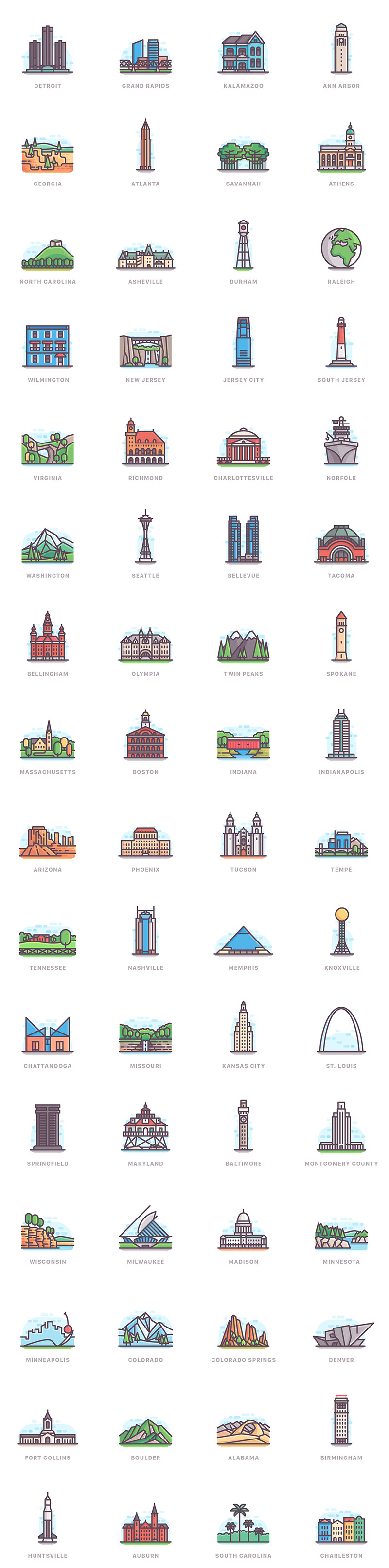 The city architectural illustration style thumbnail
