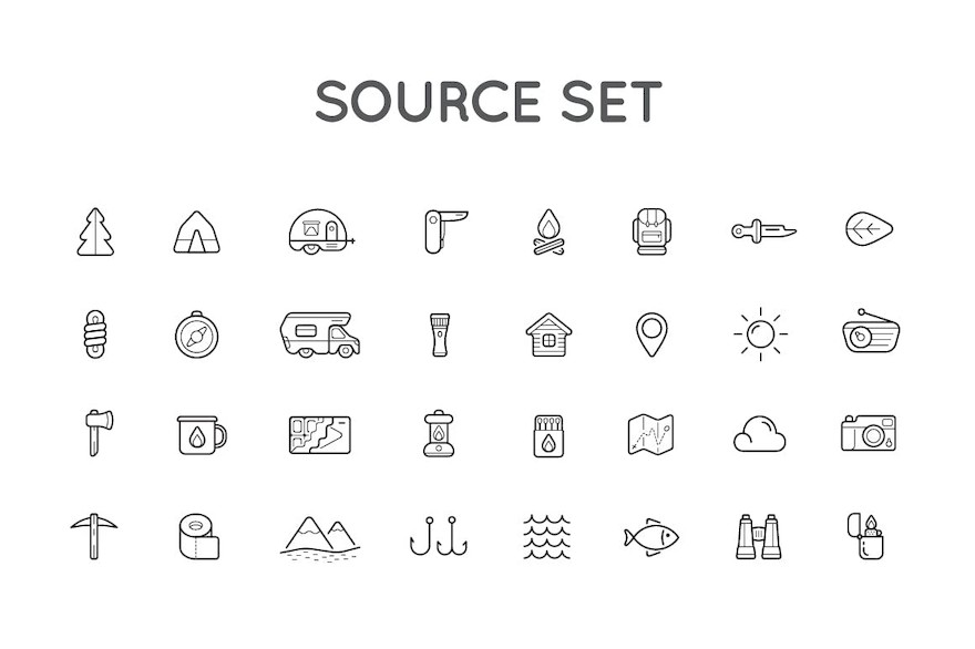 Camping Color and Outlined Icons with Logotypes-7.jpg