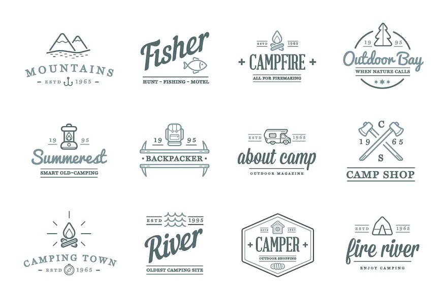 Camping Color and Outlined Icons with Logotypes-1.jpg
