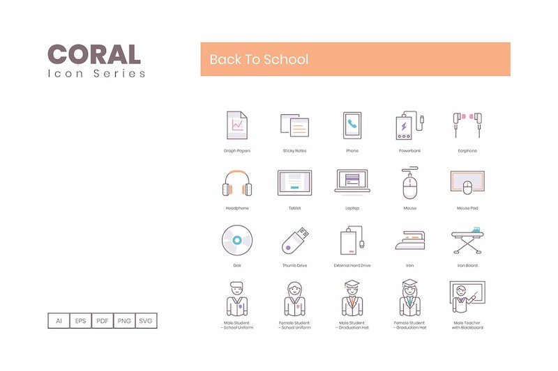 80 Back To School Icons | Coral Series (smooth)-1.jpg