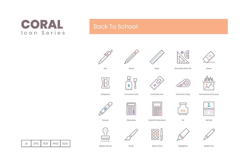80 Back To School Icons | Coral Series (smooth)-2.jpg