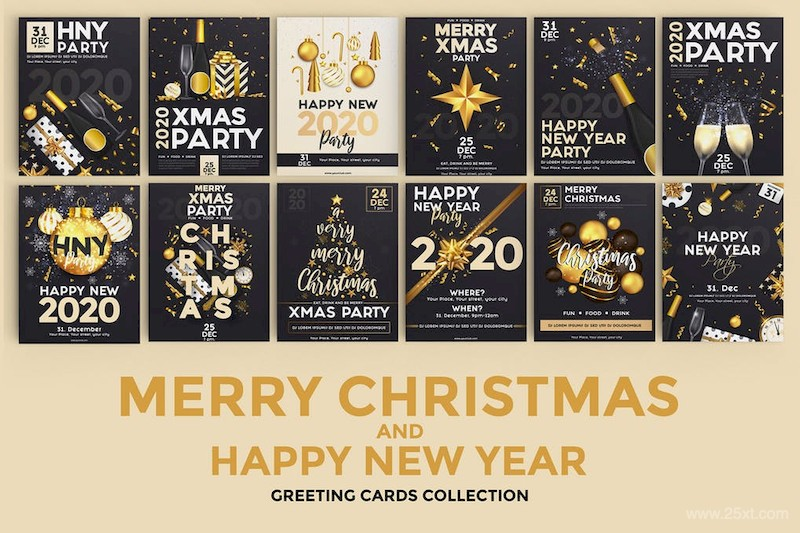 Set of 16 Christmas and Happy New Year Party Flyer-3.jpg