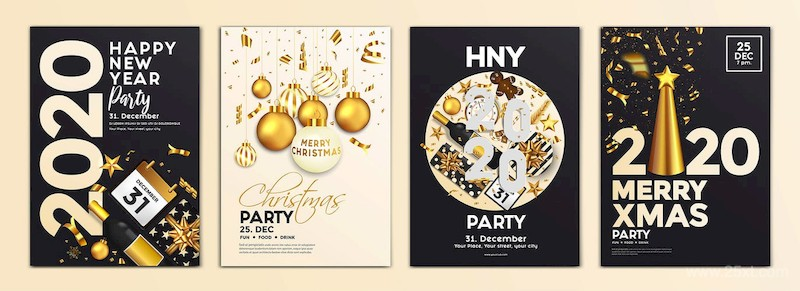 Set of 16 Christmas and Happy New Year Party Flyer-1.jpg