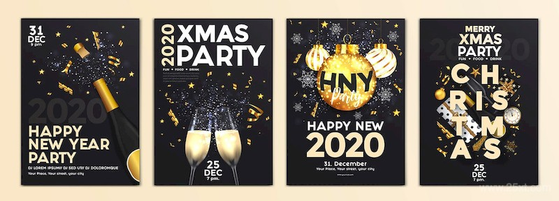 Set of 16 Christmas and Happy New Year Party Flyer-4.jpg