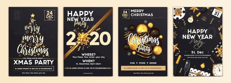 Set of 16 Christmas and Happy New Year Party Flyer-6.jpg