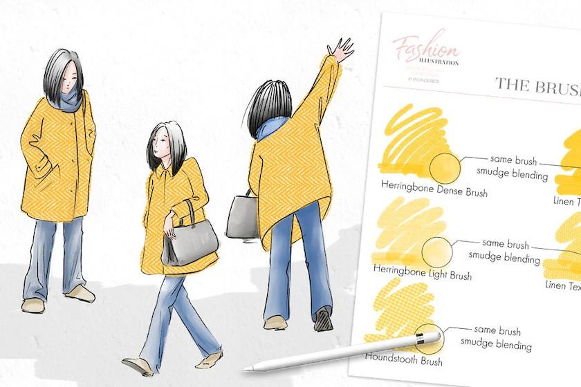 ps纱效果_服装设计插画专用的Procreate笔刷素材 - 25学堂