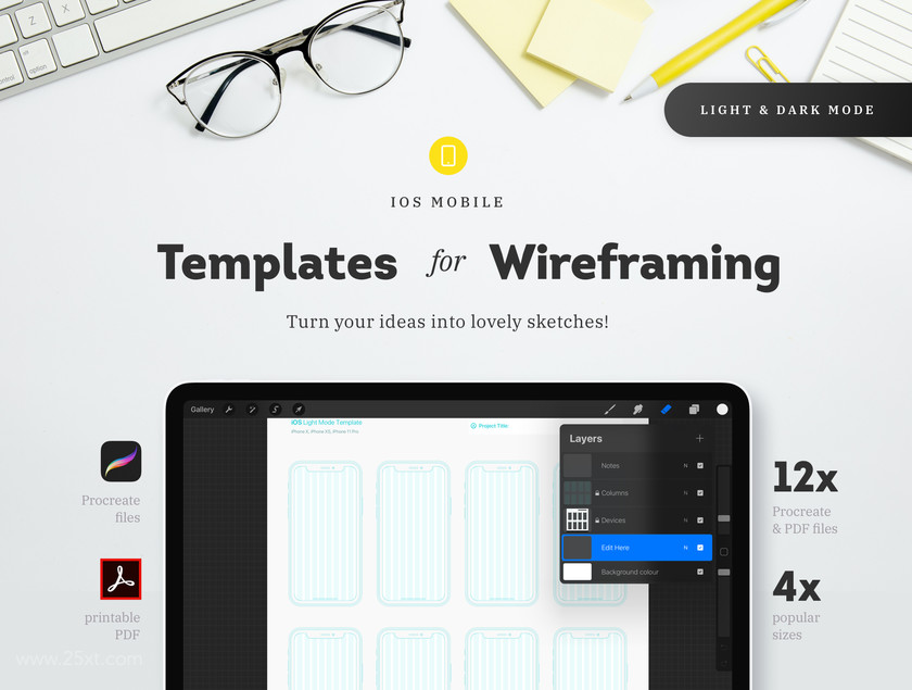 25xt-484701 Procreate - iOs Mobile Templates for Wireframing3.jpg