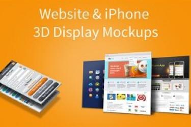 网站设计及iPhone 5的3D显示器样机模板(PSD)