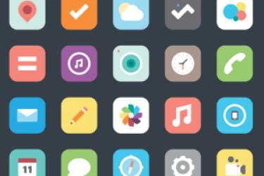 一组iOS扁平化图标不同设计风格展示【设计干货】