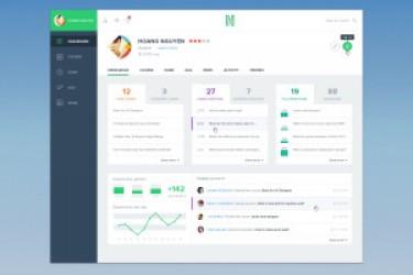 四套扁平化设计的网站后台管理模板PSD下载