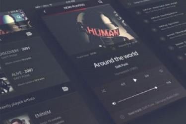 免费的APP界面设计PSD模板—iPhone6音乐播放器