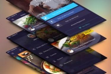 免费APP设计学习PSD模板:4张餐厅美食APP模板