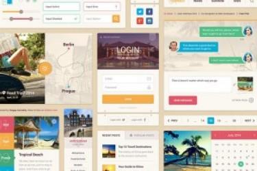 Summer UI Kit夏日主题的设计素材打包下载