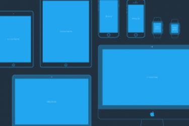 Apple Devices Mockups模型线性素材下载【附PSD和AI】