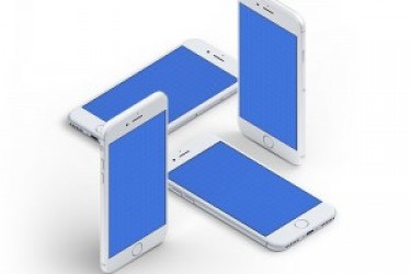 四张 iPhone7 立体展示模型Mockups素材下载