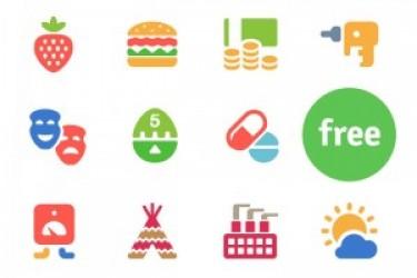 100个彩色的app插画风格图标下载(含PSD和AI)