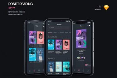 电子书阅读app设计模板-PostIt iOS UI Kit